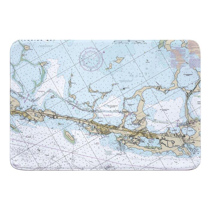 Hasan Key Largo, FL Nautical Chart Memory Foam Bath Rug