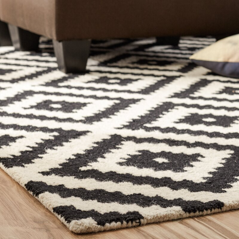 Wayfair All Modern: Mercury Row Obadiah Hand-Tufted Wool Black Area Rug