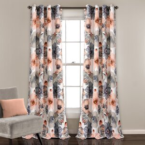 Knox Nature/Floral Room Darkening Thermal Grommet Curtain Panels (Set of 2)