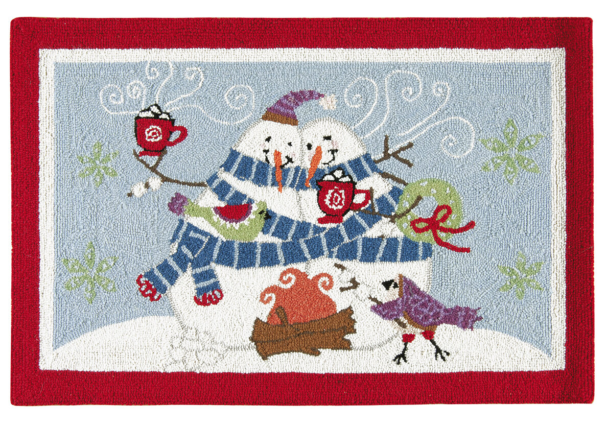 The Holiday Aisle Toasty Wishes Snowman Wool Red Area Rug | Wayfair