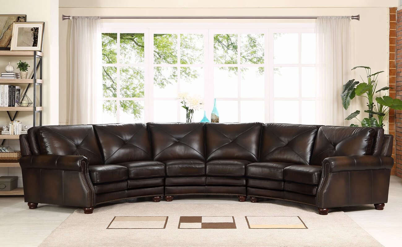 Red Barrel Studio Beatris Top Grain Leather Sectional & Reviews