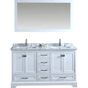 2 Piece Newport Mirrored Double Sink Bathroom Vanity Set