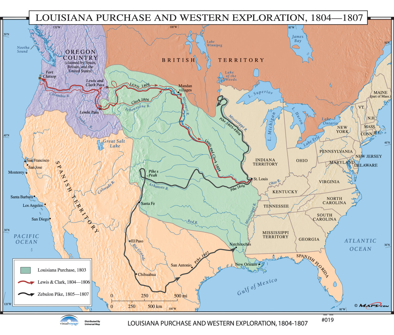 U.S. History Wall Maps - Louisiana Purchase / Western Exploration on montana map, usa map, western us map, oregon map, california map, utah map, nevada map, grand canyon map, western hemisphere map, wyoming map, western states and capitals map, western brazil map, alaska map, western upland map, british columbia map, western nigeria map, eastern us map, idaho map, colorado map, western continents map,
