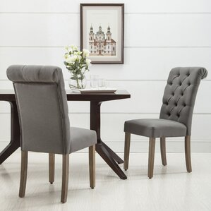 Christies Roll Top Tufted Modern Upholstered Dining Chair (Set Of 2)