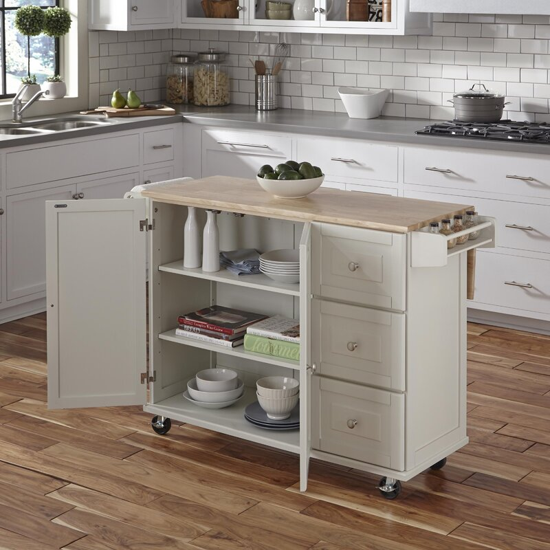 Rolling Island For Kitchen: Andover Mills Kuhnhenn Kitchen Island & Reviews