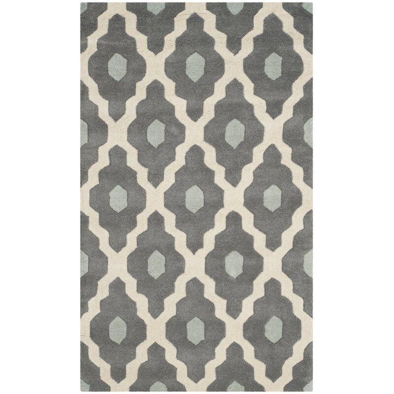 Wrought Studio Wilkin Dark Gray/Ivory Moroccan Area Rug