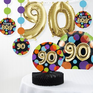Balloon 90th Birthday Decorations Kit Set Of 7
