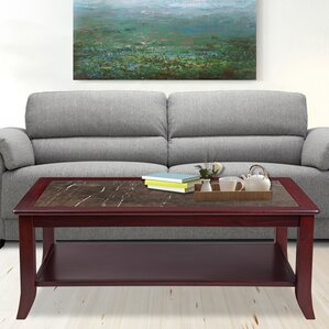 Claude Natural Marble Top Wood Coffee Table by Red Barrel Studio