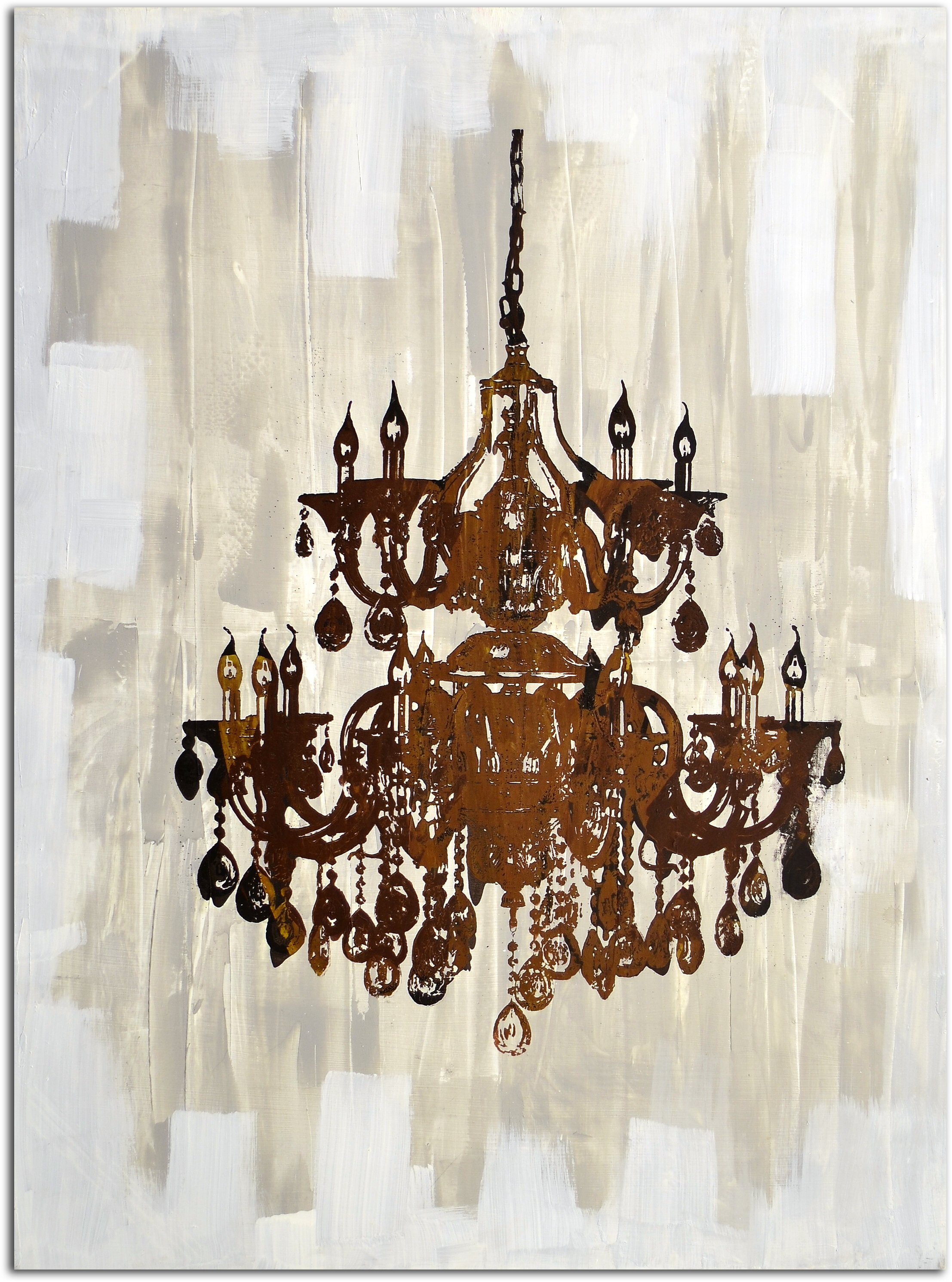 Omax Decor Antique Chandelier Reflection Painting on Canvas