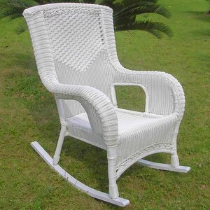 Wellington Wicker Resin Aluminum High Back Patio Rocking Chair