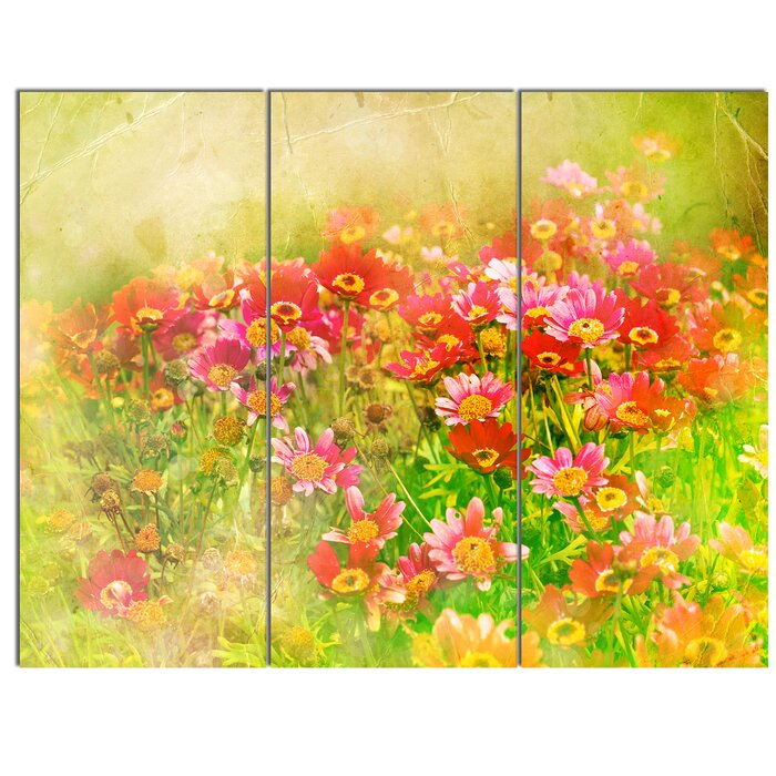 DesignArt \'Colourful Spring Garden with Flowers\' 3 Piece Wall Art on ...