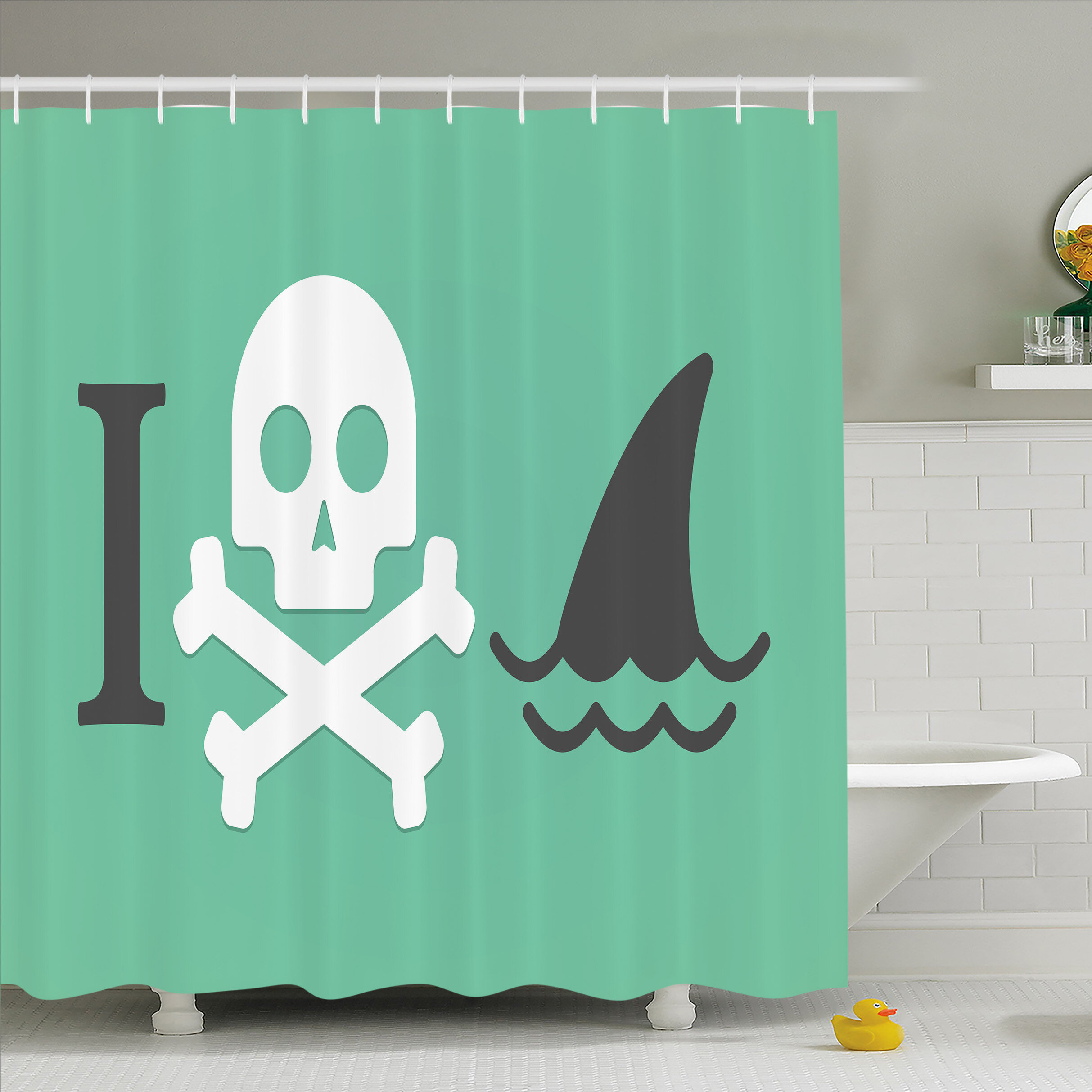 Ambesonne Sea Animal Love Creepy Dead Skull Head With Cross Bones And Fun Danger Icon Shower Curtain Set