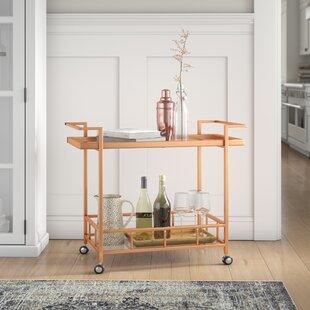 Emrich Industrial Iron/Glass Bar Cart