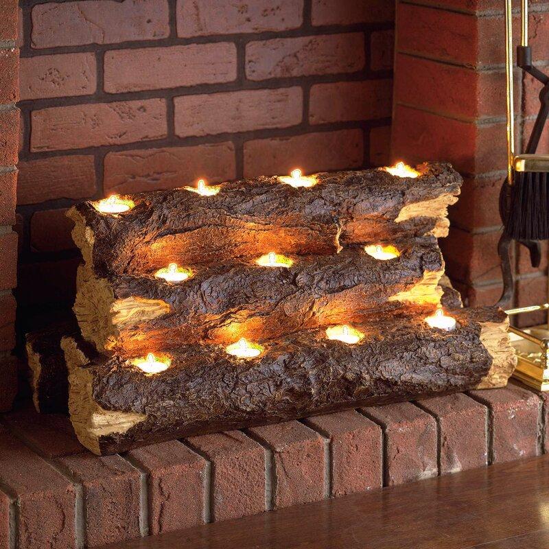 Wildon Home ® Resin Tealight Fireplace Log & Reviews | Wayfair