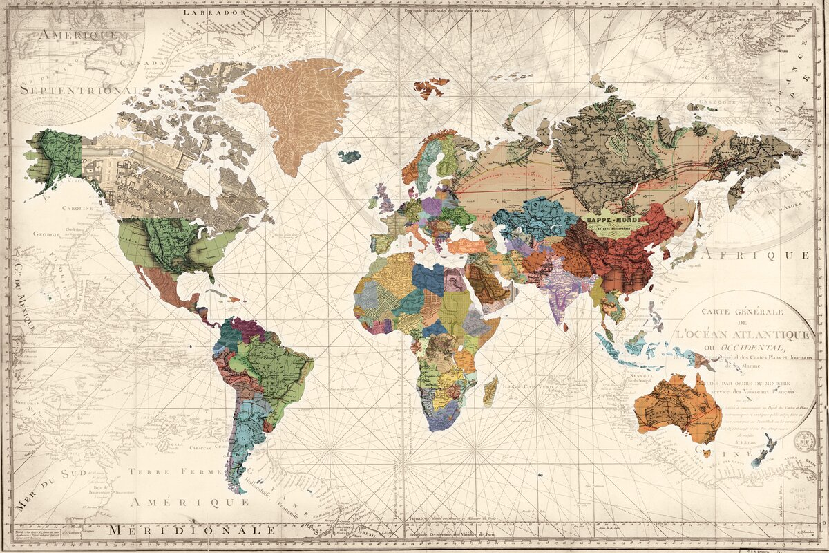 World Menagerie World Map Of Maps Graphic Art On Wrapped Canvas - World map for sale