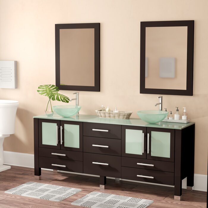 Meserve Solid Wood And Frosted Glass Vessel 71 Double Bathroom Vanity Set With Mirror