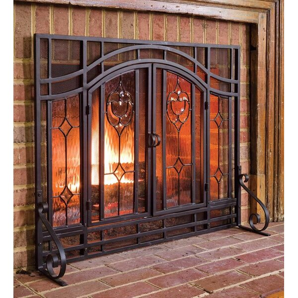 Plow Amp Hearth Single Panel Steel Fireplace Screen