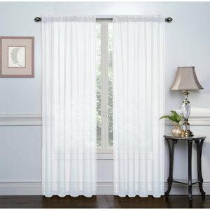 Emmons Sheer Voile Solid Sheer Rod Pocket Curtain Panels (Set of 2)