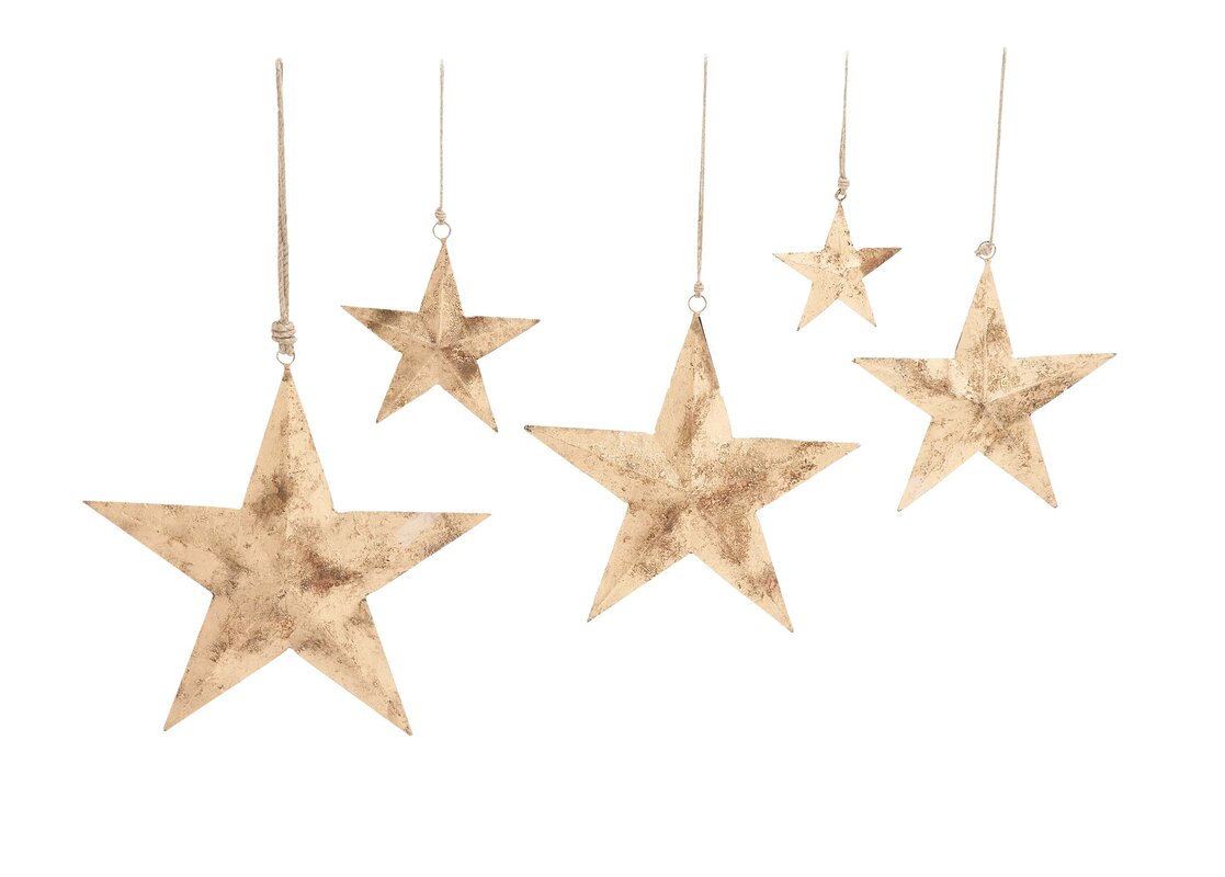 Metal Star Wall Decor Cole & Grey 5 Piece Decorative Metal Star Wall Décor Set & Reviews