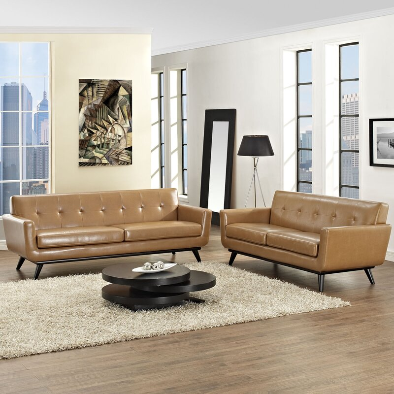 Corrigan studio saginaw leather 2 piece living room set reviews 2 piece leather living room set