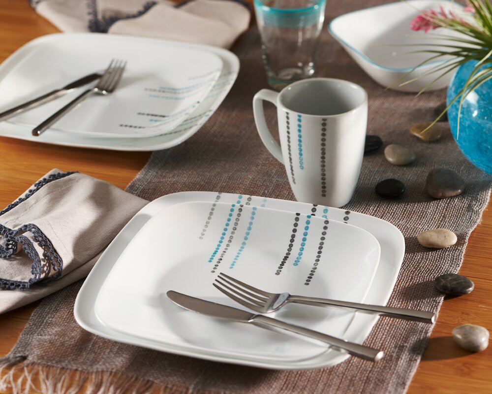 Square 16 Piece Dinnerware Set Service for 4 & Corelle Square 16 Piece Dinnerware Set Service for 4 u0026 Reviews ...