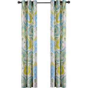 Sardinia Paisley Semi-Sheer Grommet Curtain Panels (Set of 2)