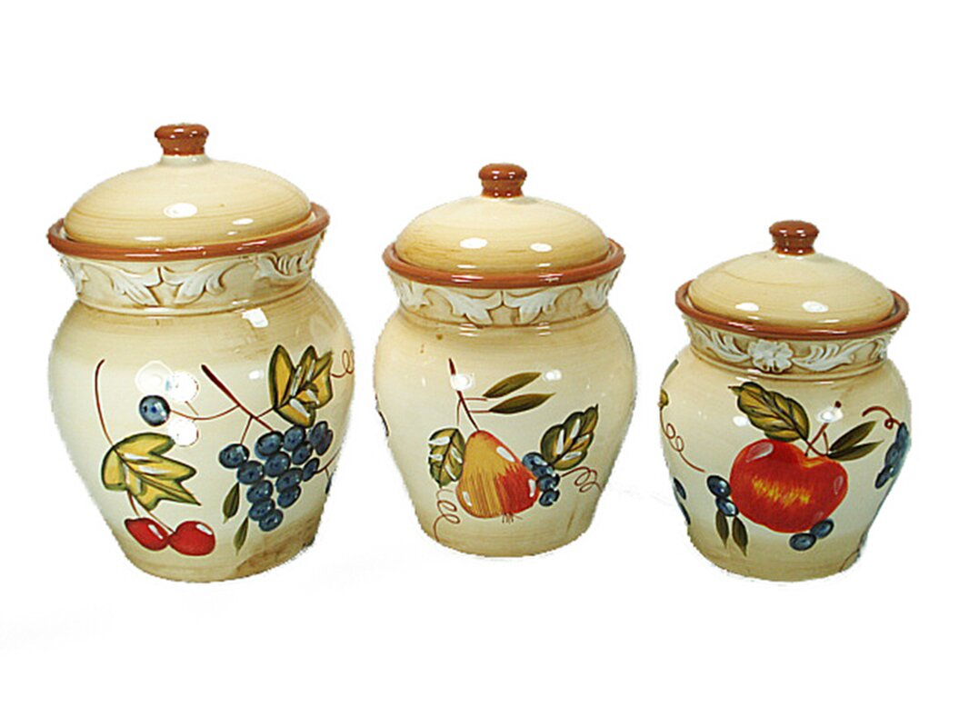 designer kitchen canister sets d lusso designs ceramic fruit 3 piece kitchen canister set reviews wayfair 7582