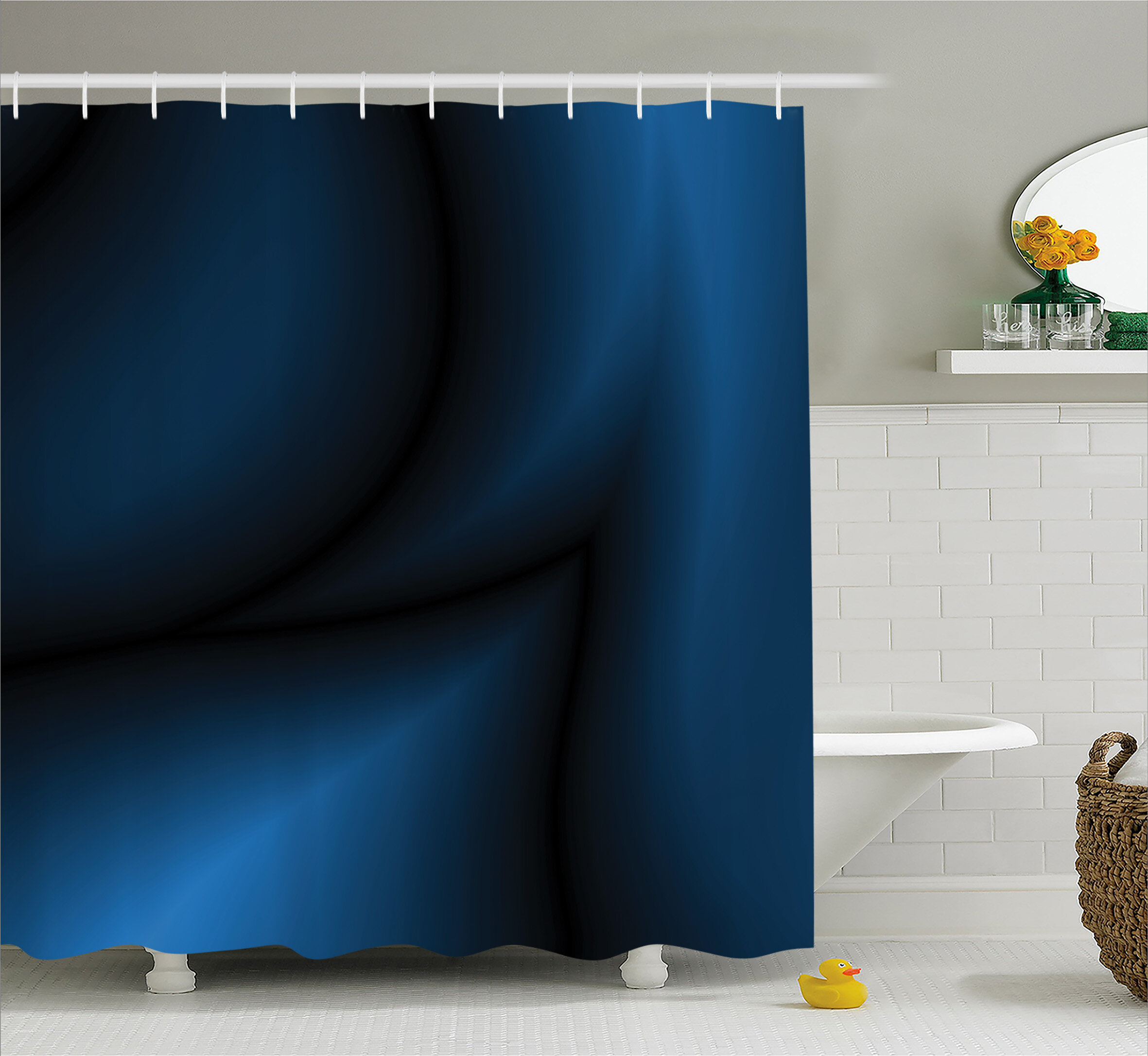 East Urban Home Navy Light Deep Ocean Sealife Shower Curtain