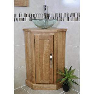 Asenath Solid Oak 390mm Corner Vanity Unit by Belfry Bathroom