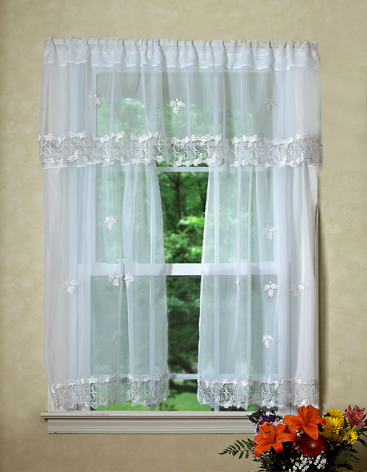 Violet Linen Lima Sheer Kitchen Curtain Valance and Tier Set ...