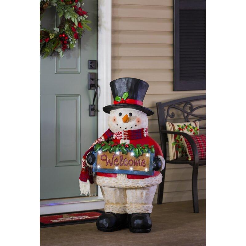 Seasons Greetings Snowman Lighted Statuary Figurine