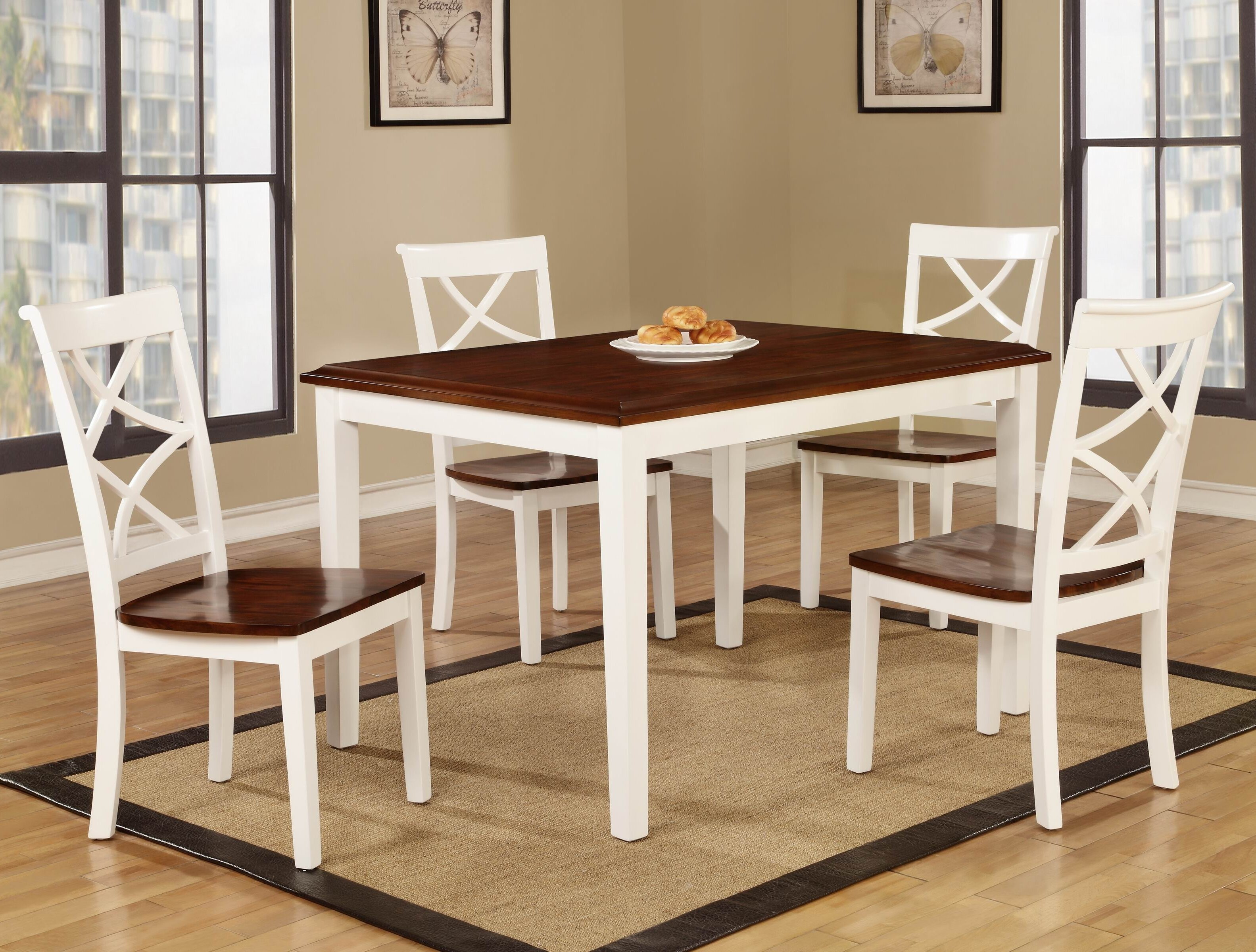 Roundhill Furniture Baum Two Tone Solid Wood 5 Piece Dining Set U0026 Reviews |  Wayfair