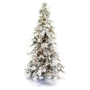 flocked long needle 9 green pine tree artificial christmas tree with 750 clear ul lights