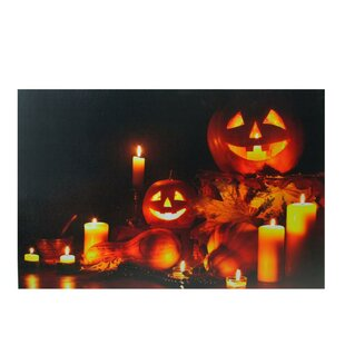 U0027LED Lighted Halloween Jack O Lanterns Fall Harvestu0027 Graphic Art Print On  Canvas