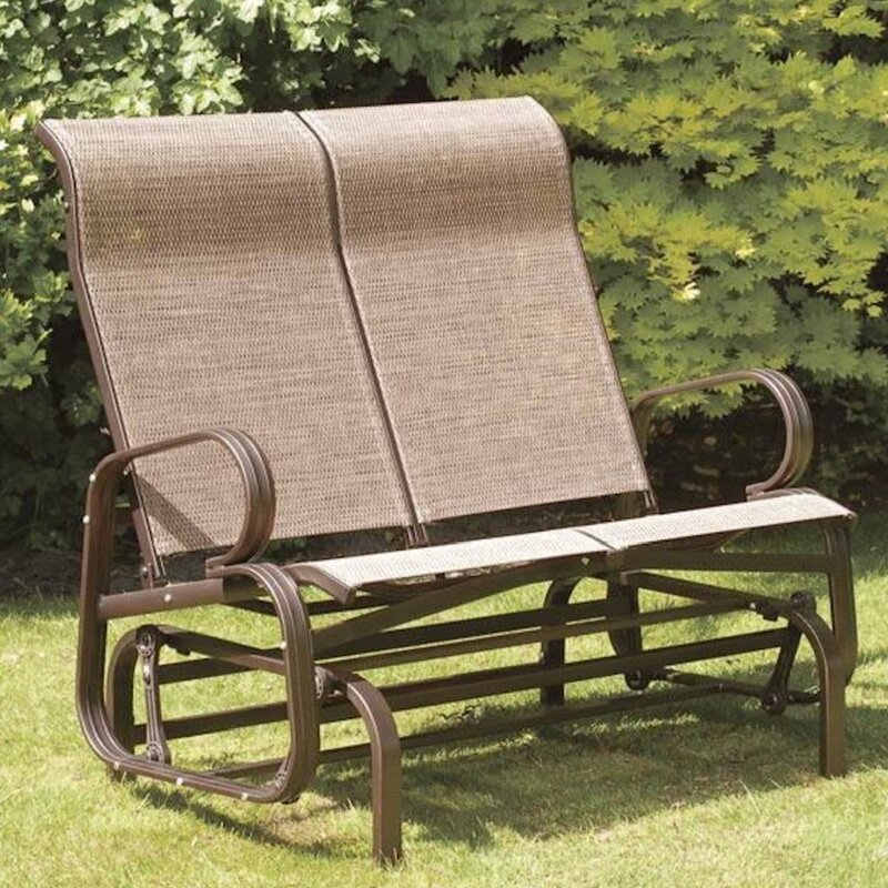 Suntime outdoor living havana twin seat bench glider for Garage seat valence