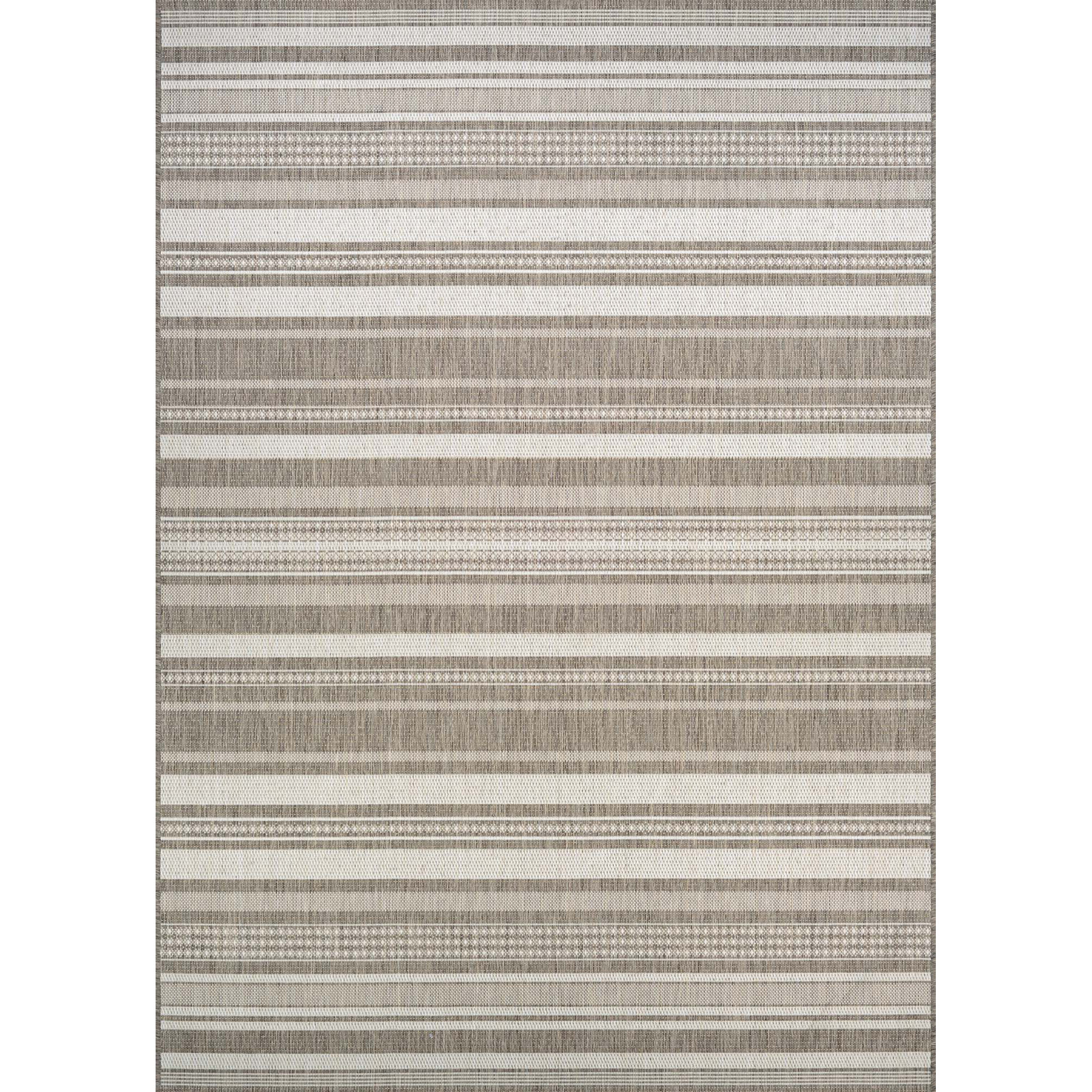 35e52386539 Beachcrest Home Anguila Stripe Taupe Indoor Outdoor Area Rug   Reviews
