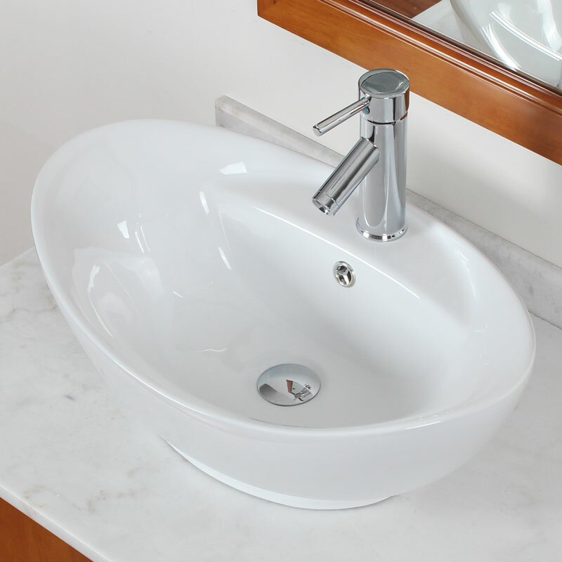 Above Counter Oval Vessel Bathroom Sink With Overflow