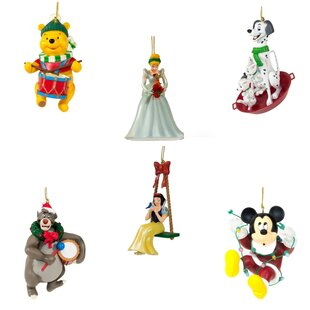 6 piece disney christmas ornament hanging figurine set - Disney Christmas Decorations