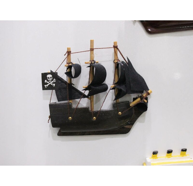 Handcrafted Nautical Decor Caribbean Pirate Magnet Model Ship Wall