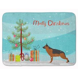 German Shepherd Merry Christmas Tree Memory Foam Bath Rug