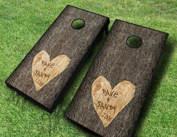 2 X 4 Wedding Tree Carved Solid Wood Cornhole Board