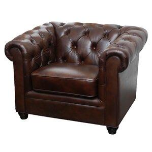 Galveston Premium Italian Leather Chesterfield Chair by Breakwater Bay