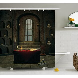 Gothic House Fantasy Spell Casting Warlock Witch Skulls Shelves Candles  Spooky Scenery Shower Curtain 818ac8461