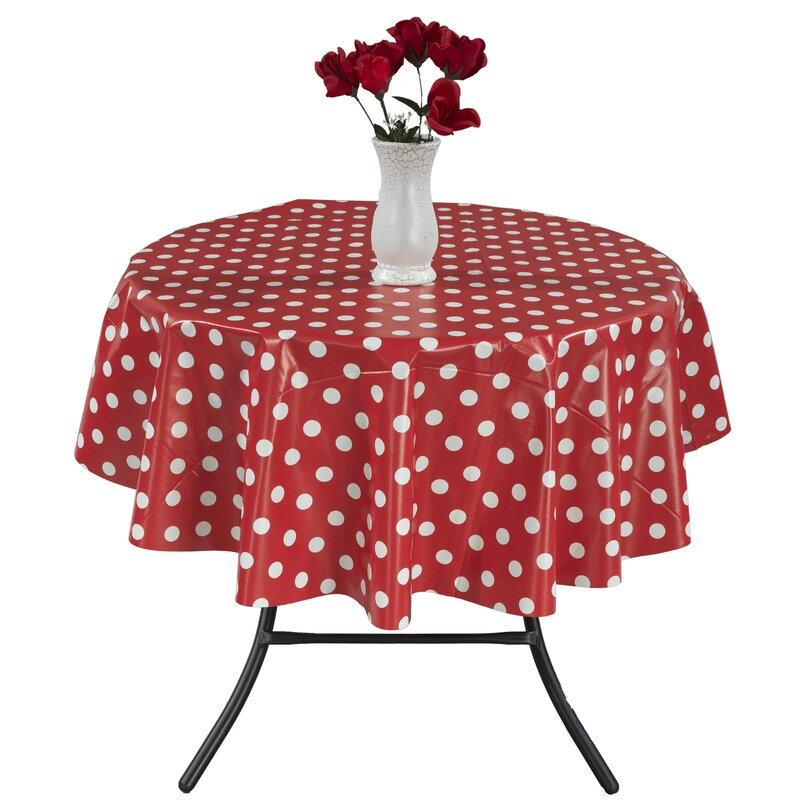 Berrnour Home Essential Vinyl Polka Design Indoor/Outdoor Tablecloth ...