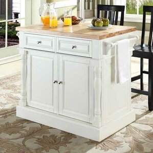 Lewistown Kitchen Island Set with Butcher Block Top by Darby Home Co
