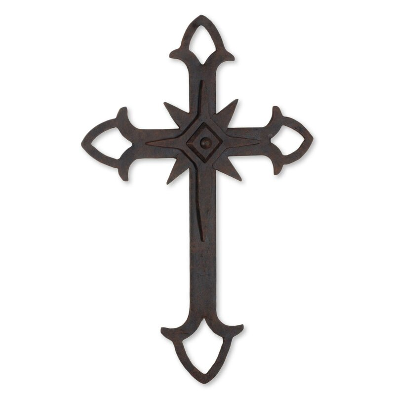 Novica Confession Of Faith Wall Cross In Wrought Iron With Wall