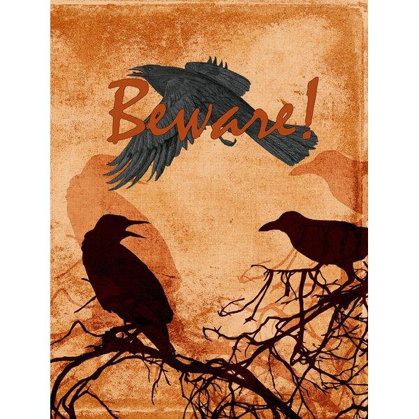 carolines treasures beware of the black crows halloween house vertical flag reviews wayfair