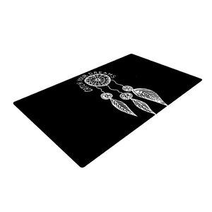 Vasare Nar Catch Your Dreams Typography White/Black Area Rug