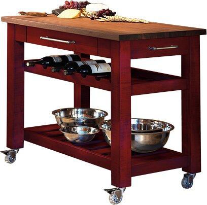 Metro Mobile Kitchen Island With Solid Walnut Top Reviews Joss Main