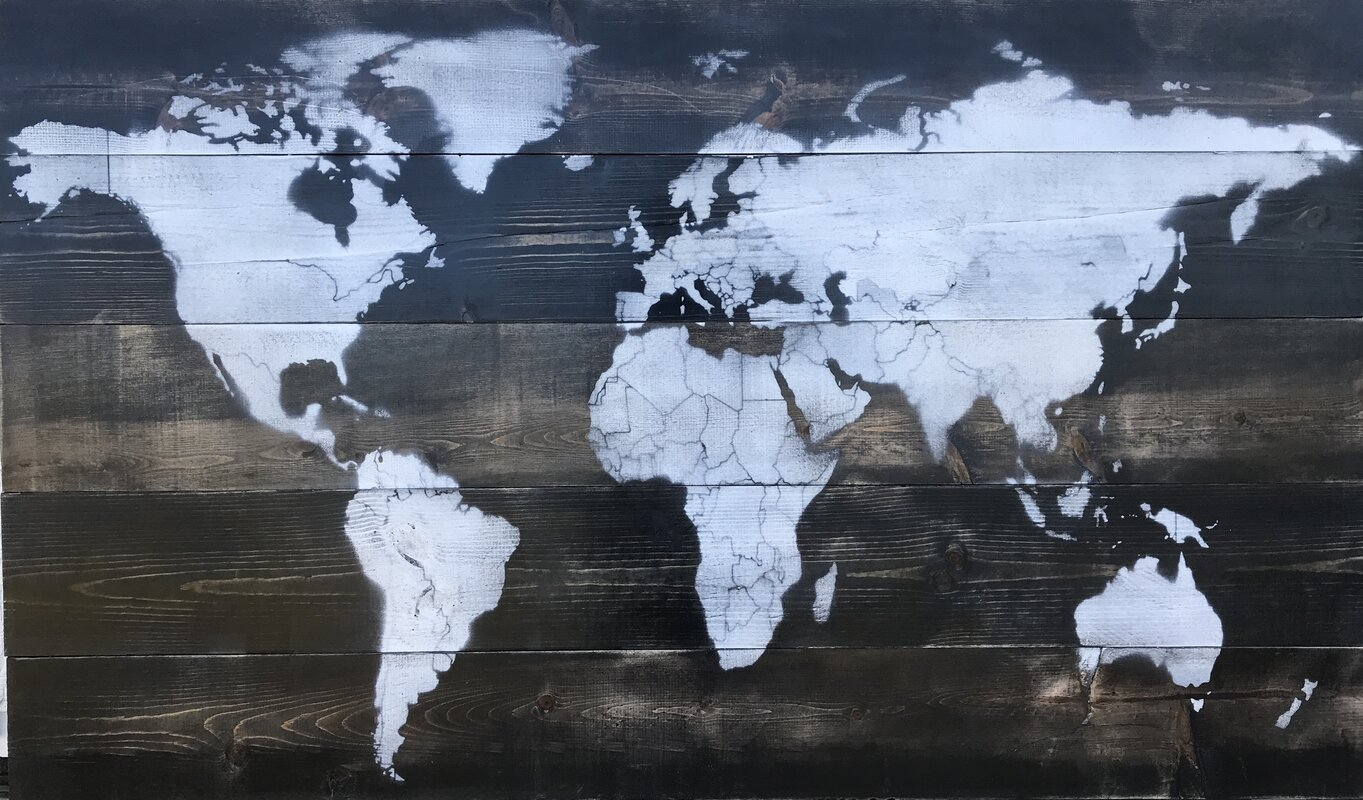 17 stories vintage world map painting on wood reviews wayfair vintage world map painting on wood gumiabroncs Image collections